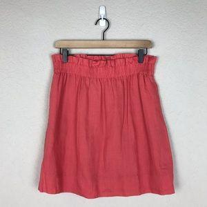 J. Crew Coral Linen Skirt